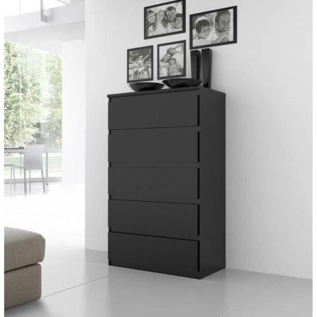 COMMODE DE CHAMBRE Commode de chambre NATTI style contemporain noir mat - L 78 cm