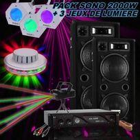 Ibiza Sound - Pack Sono 2000W + Ampli Sono + 2 Enceintes 1000W + 3 Jeux De LumiÈRE Pa-dj