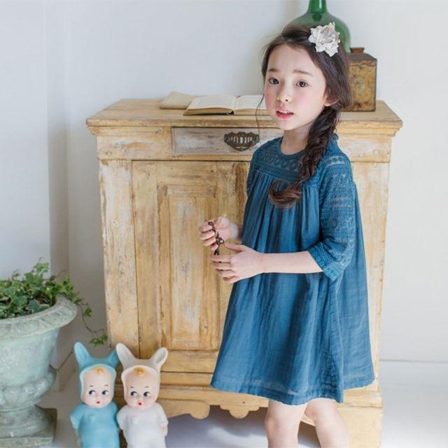 f4cc788599c38 Wewoo - Robe enfant bleu Enfants de bal demoiselle d'honneur partie mariage  coude manches