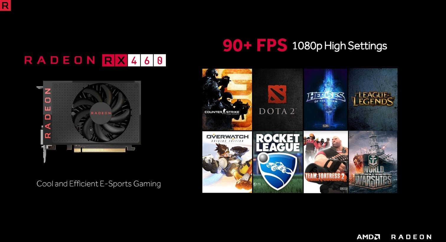 AMD Radeon RX 460 90+ FPS jeux video
