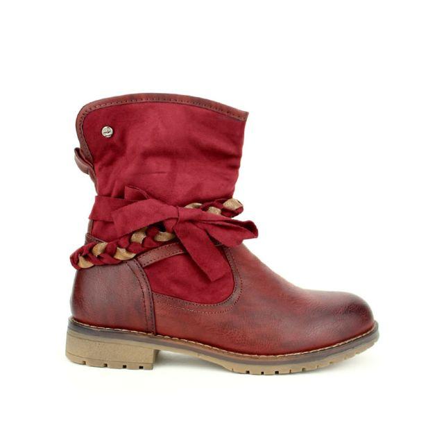 43f252c26689 Cendriyon - Bottine simili cuir Bordeaux Sixth Sens - pas cher Achat   Vente  Boots femme - RueDuCommerce