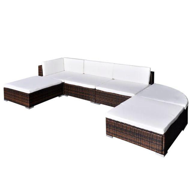 VIDAXL Jeu de meuble de jardin 16 pcs Marron Résine tressée | Brun