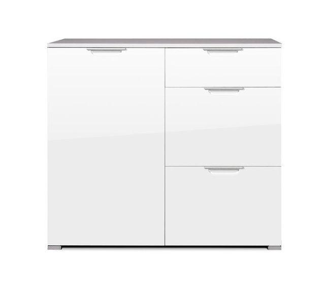 Marque Generique Commode design finition laqué brillant - 1 porte 3 tiroirs - L96xP40xH85cm Show - Blanc