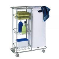 Wenko - Chariot étroit salle de bain et cuisine à roulettes - sac 28L + 3 paniers métal