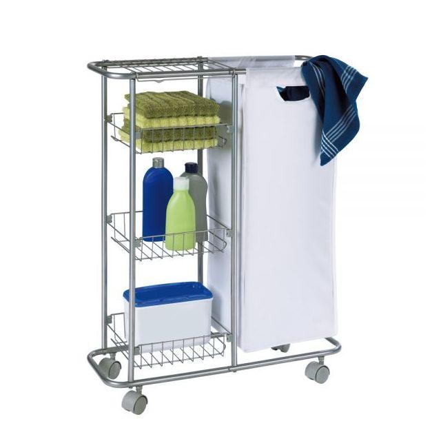 wenko chariot troit salle de bain et cuisine roulettes sac 28l 3 paniers m tal pas. Black Bedroom Furniture Sets. Home Design Ideas