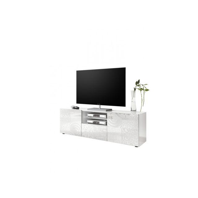 Subleem Base Tv deux portes 1 tiroir Serle blanc laqué brillant