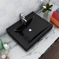 Rocambolesk - Superbe Vasque à poser en céramique noir perçage pour la robinetterie 60 x 46 cm Neuf