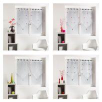 Bonareva - Paire de voilage - 60 x 120 cm - Yoyo - Finition pointe rose