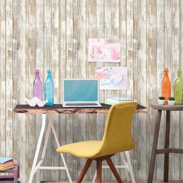 Mon Beau Tapis Sticker papier peint adhésif facile à poser amovible repositionnable et réutilisable bois vieilli 1 rouleau 5,03 x 0,52