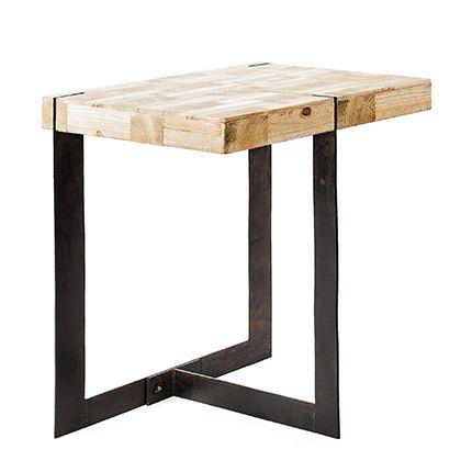 Table d'appoint 50x50x50cm bois et métal - Ciudad