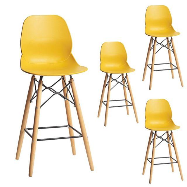 tousmesmeubles quatuor de chaises de bar jaune buri pas cher achat vente tabourets. Black Bedroom Furniture Sets. Home Design Ideas