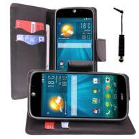 Vcomp - Housse Coque Etui portefeuille Support Video Livre rabat cuir Pu effet tissu pour Acer Liquid Jade S S56 + mini stylet - Noir