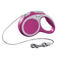 Flexi - Laisse à enrouleur Vario mini rose à corde