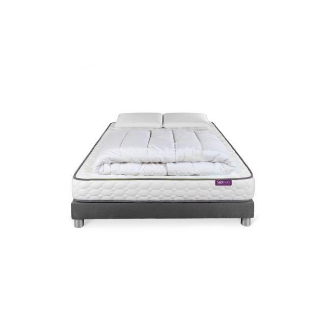 septnuits pack matelas memo sommier gris 140x190 2 oreillers m moire de forme pas cher. Black Bedroom Furniture Sets. Home Design Ideas
