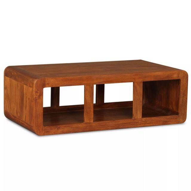 Vidaxl Table Basse Bois Massif avec Finition en Sesham Table d'Appoint Salon
