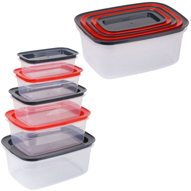 Promobo Ensemble Lot 5 Boîtes De Conservation Alimentaires Hermétiques Rangement Malin Encastrable Rectangle Rouge