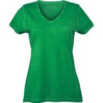 2b0d688ead1c9 James   Nicholson - T-shirt style bohémien col V femme Jn975 - vert fougère