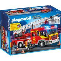 PLAYMOBIL - Camion de pompier avec échelle pivotante et sirène - 5362