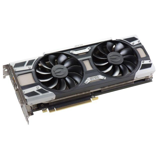 EVGA GeForce GTX1070 SC Gaming ACX3.0 Cooler La GeForce GTX 1070SC Gaming ACX3.0 Cooler est conçue avec la nouvelle architecture Pascal (gravure 16 nm et mémoire GDDR5X). Bien plus puissante que ses consœurs de géné