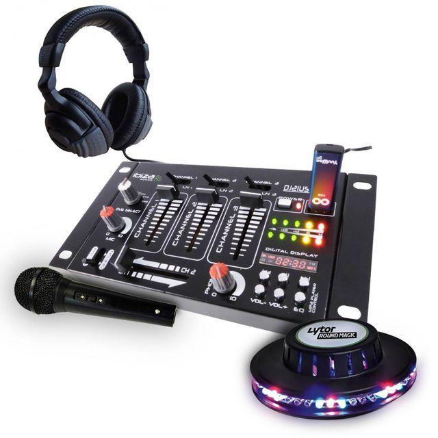Ibiza Sound Kit table de mixage + casque + micro noir + jeu de lumière effet Ufo