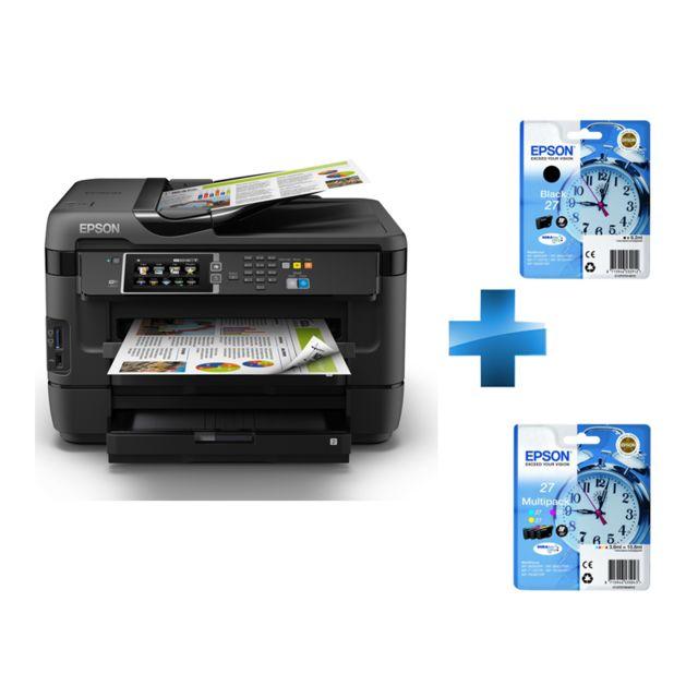 epson pack imprimante wf 7620dtwf cartouche d 39 encre noire pack de cartouches 3 couleurs. Black Bedroom Furniture Sets. Home Design Ideas