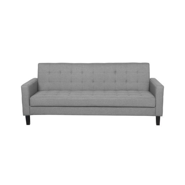 BELIANI Canapé lit en tissu gris clair VEHKOO