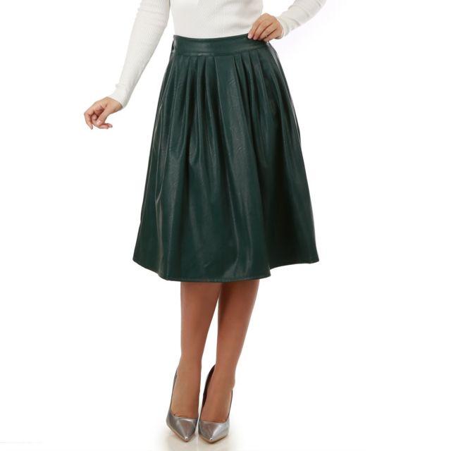 1c8ec2fde3ef Lamodeuse - Jupe mi-longue plissée verte simili cuir - pas cher ...