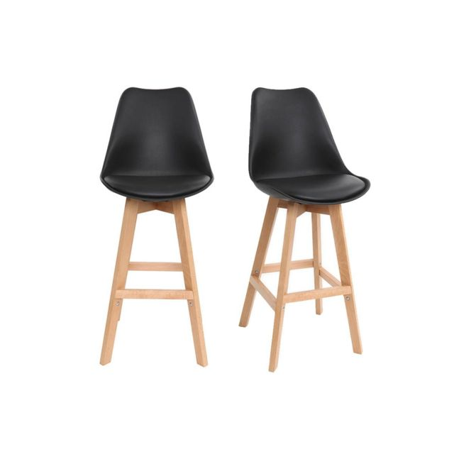 miliboo tabourets de bar design noir et bois 65 cm lot. Black Bedroom Furniture Sets. Home Design Ideas