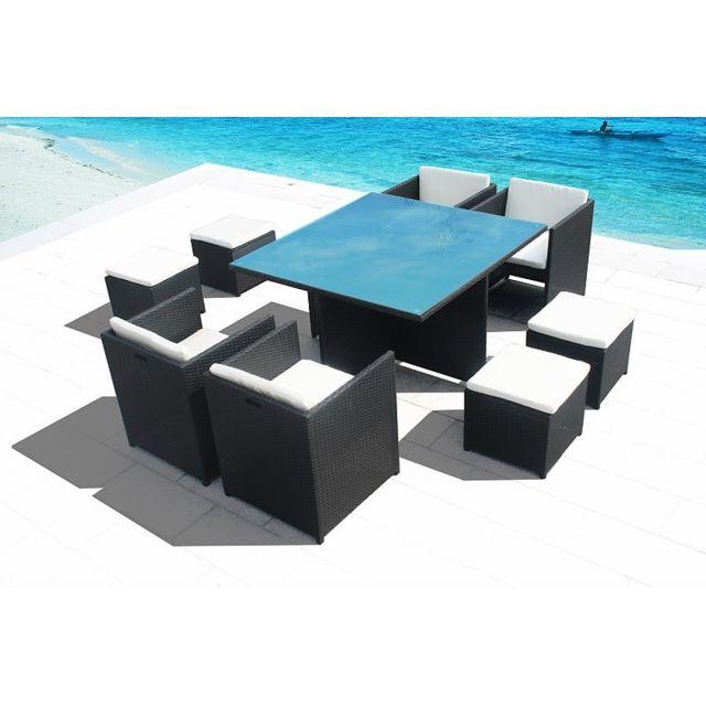 Concept Usine - Superbe Salon De Jardin Miami En Resine Encastrable ...