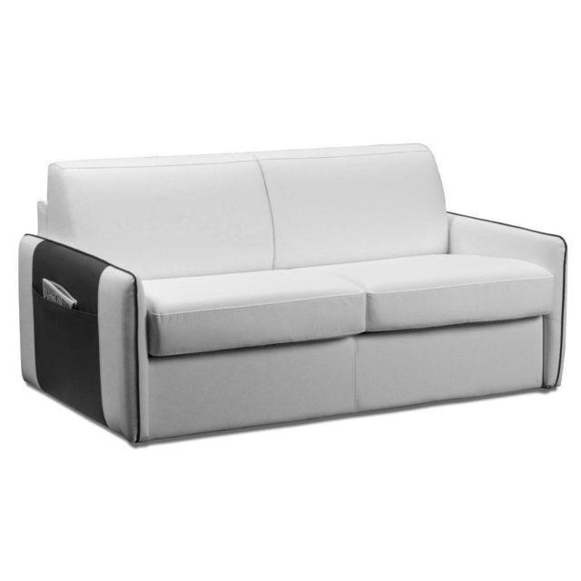 inside 75 bali canap convertible ouverture rapido cuir vachette blanc sommier lattes et. Black Bedroom Furniture Sets. Home Design Ideas