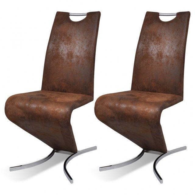 Casasmart Lot de 2 chaises en simili cuir marron Kat