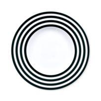 Bruno Evrard - Assiette dessert à rayures noir en porcelaine 22cm - Lot de 6 - Porcelaine - Blanc, Noir