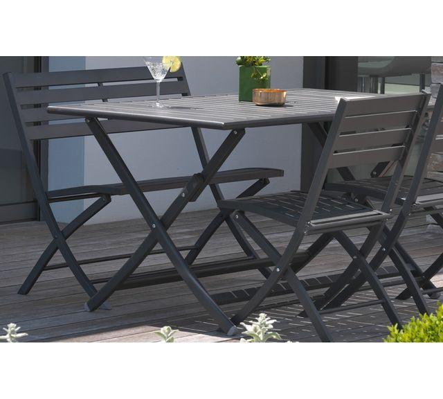 Dcb Garden Table pliante en aluminium gris anthracite