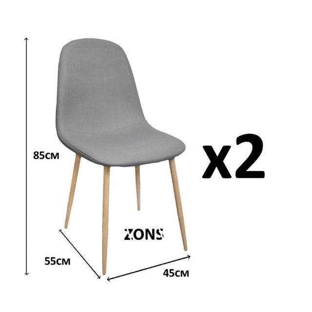 Zons Lot De 2 Chaise Salle A Manger Anti Tache Scandinave Metal