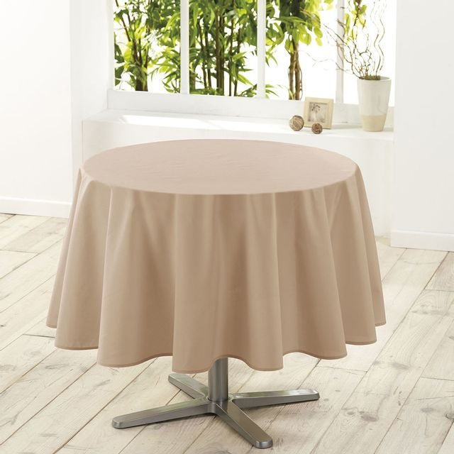 douceur d 39 interieur nappe de table ronde 180cm essentiel lin antitache cacao beige pas. Black Bedroom Furniture Sets. Home Design Ideas