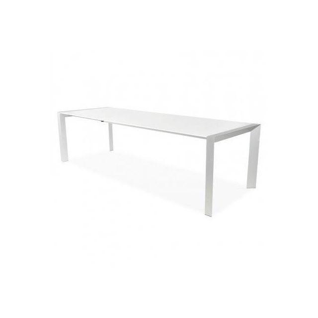 TECHNEB Table design avec rallonge FIONA en bois laqué et aluminium brossé 190/270cmX95cmX75cm, blanc