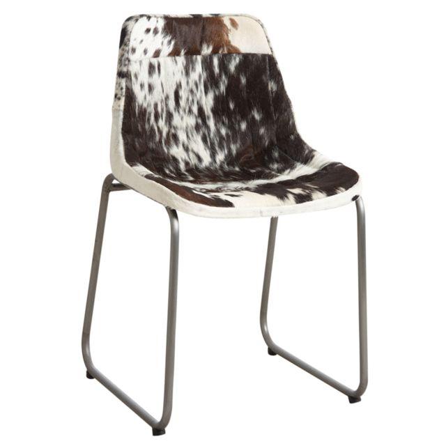 aubry gaspard chaise en peau de vache noire et blanche pas cher achat vente chaises. Black Bedroom Furniture Sets. Home Design Ideas