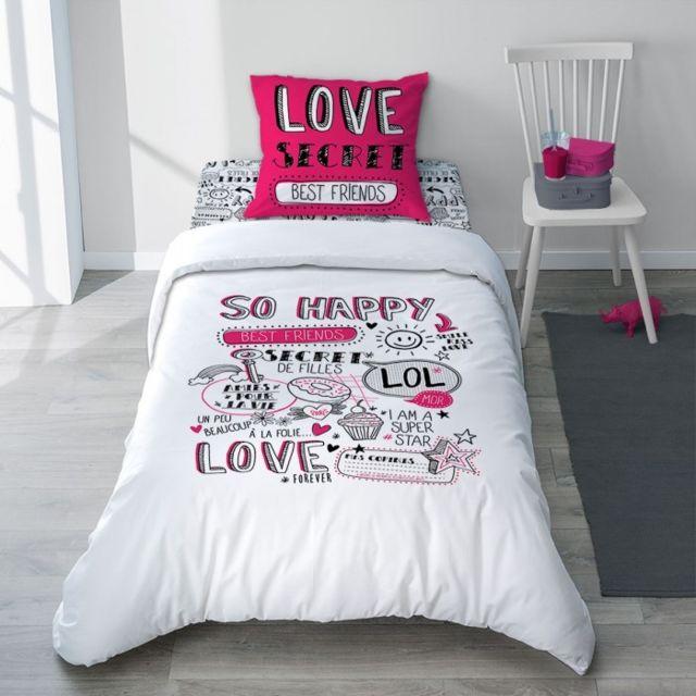 selene et gaia parure de lit girly fluo rose noir et blanc en coton revers uni secret girl. Black Bedroom Furniture Sets. Home Design Ideas