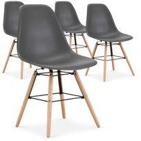 menzzo lot de 4 chaises scandinaves lisa gris - Chaises Scandinave Pas Cher