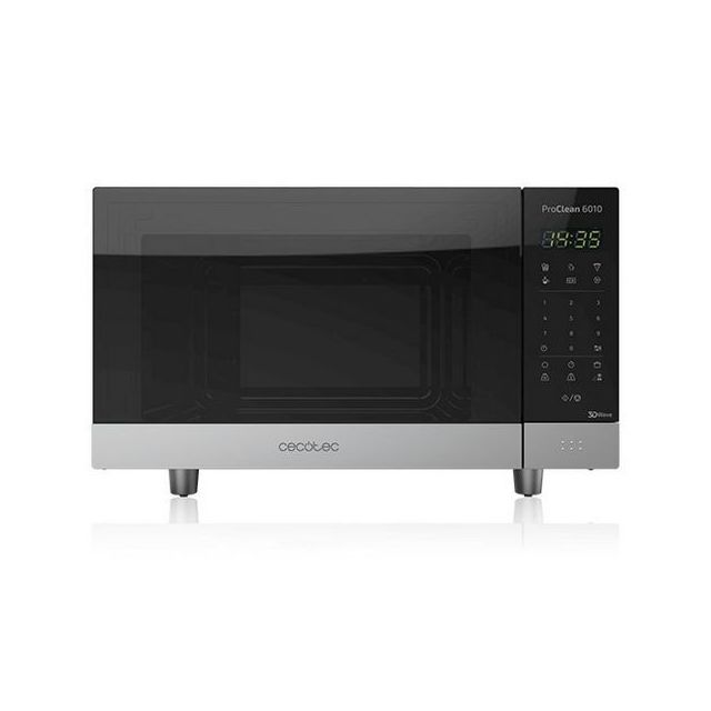 Totalcadeau Micro-ondes avec Grill et plateau tournant 23 L 800W Noir Argenté - Avec Contrôle Numérique