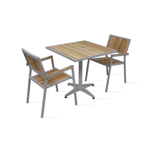 Boutique-jardin - Table de jardin carrée 2 places en bois et ...