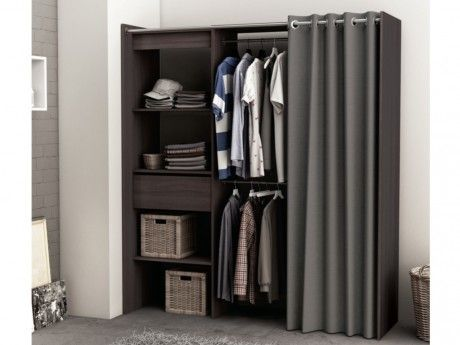 marque generique dressing extensible kylian l114 168cm chocolat et gris 50cm x 114cm x. Black Bedroom Furniture Sets. Home Design Ideas