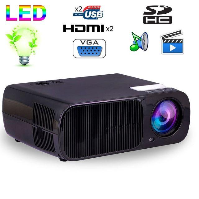Yonis Mini vidéoprojecteur Hd 2600 lumens 110W home cinema Hdmi Usb Noir