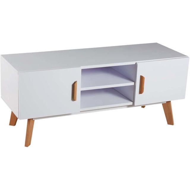 HABITAT ET JARDIN Meuble TV Jacky - 120 x 40 x 45 cm - Blanc