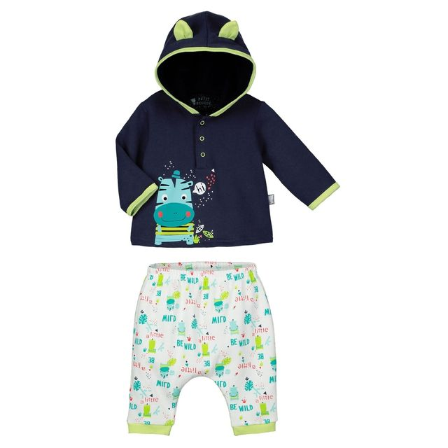 b82c173f77673 Petit Beguin - Ensemble bébé garçon en molleton Tropic Boy - Taille - 24  mois 92 cm - pas cher Achat   Vente Ensembles - RueDuCommerce