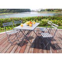 Table de jardin + 4 chaises pliantes en acier - Gris