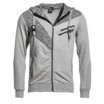 BLZ Jeans - Gilet sweat homme gris chiné à capuche et zips