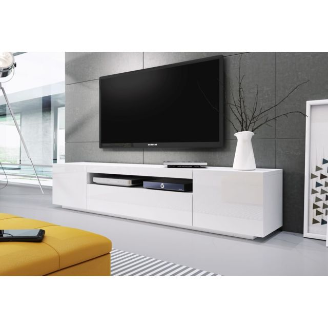 Baltic Meubles Banc Tv Blanc Laque 2m00 Ref Kimi Pas Cher