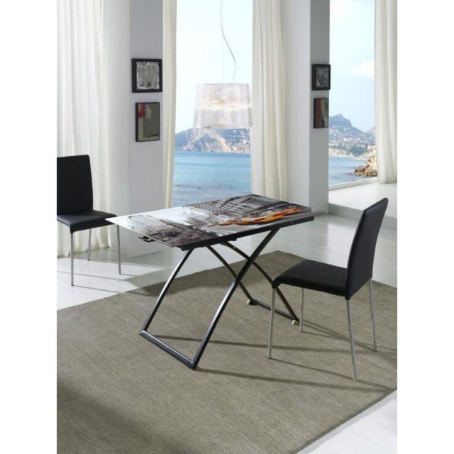 Ma Maison Mes Tendances Table relevable 110cm en verre imprimé photo et pieds en acier noir Lyra - L 110 x l 60 x H 38,5
