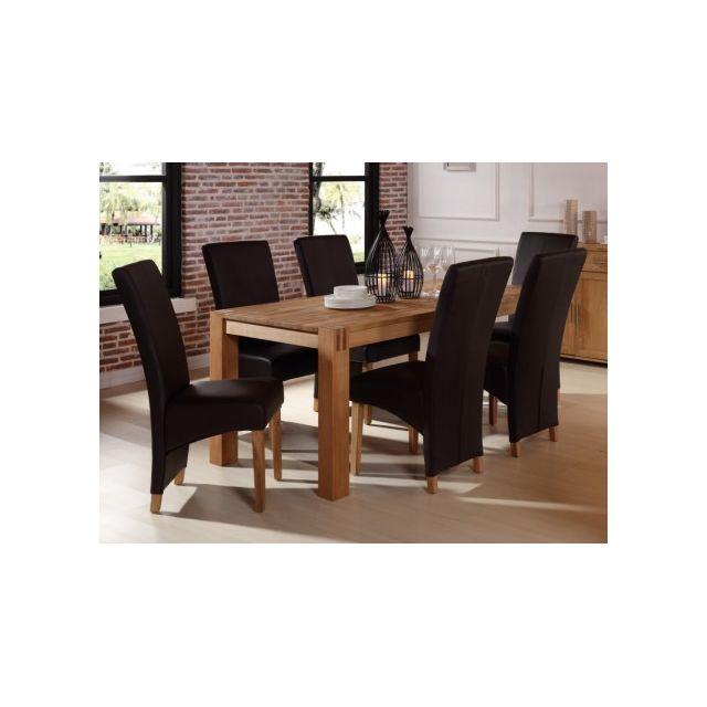 Vente unique table manger broceliande ii 6 couverts ch ne huil naturel 90cm x 76cm x for Carrefour table a manger